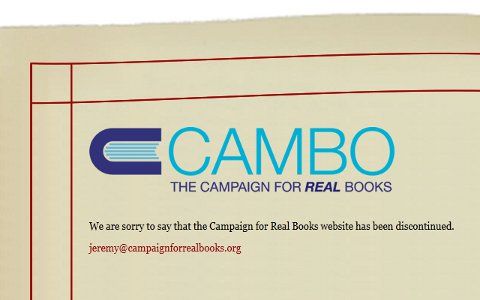 The campaign for real books finished